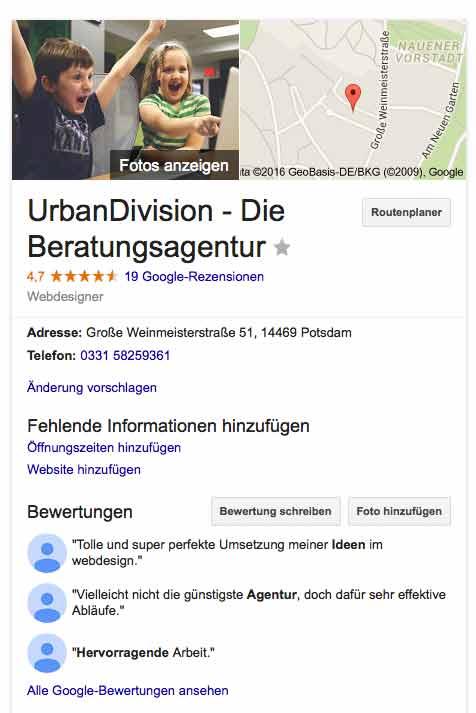 Google Places UrbanDivision Potsdam