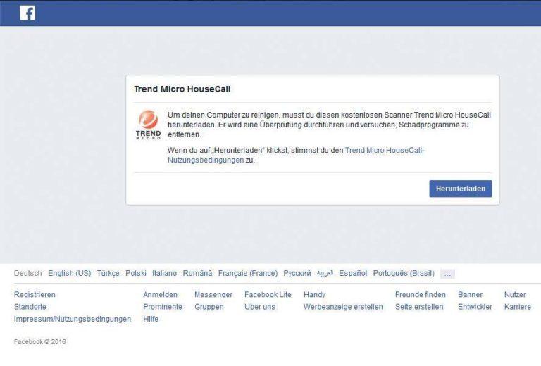 Fehlermeldung_Housecall_Facebook